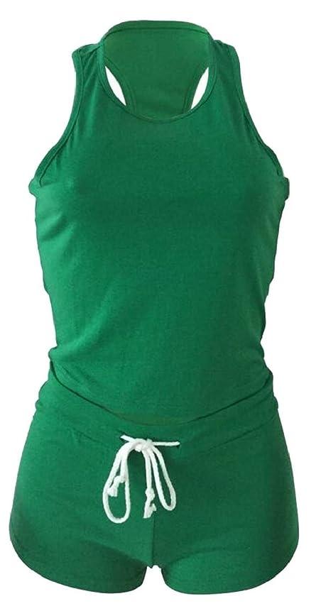 句オーナーアクション女性コットン固体タンクトップショーツトラックスーツスポーツウェア2ピース衣装