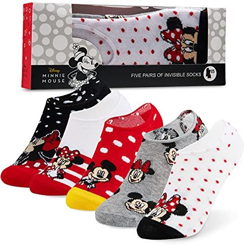 Disney Calcetines Tobilleros Mujer de Minnie Mouse, 5 Pares de Calcetines Invisibles Mujer, Regalos Originales Para Mujer (Blanco/Rojo)