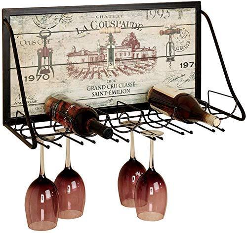 Hermoso botellero de Pared Blacksmith.Porta Botellas de Vidrio Forjado Estilo Vaso, botellero, portabotellas de Vino Vintage, 65 x 26 x 40 cm