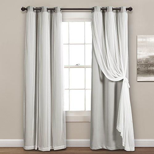 "Lush Decor Sheer Grommet Panel with Insulated Blackout Lining, Room Darkening Window Curtain Set (Pair), 84"" x 38"" Light Gray"
