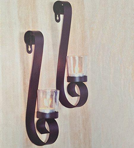Dekoratives Stillvolles Design aus Metall 2'er Set Wandkerzenhalter für Teelichter aus Metall für Teelichter