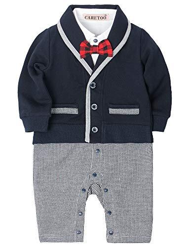 CARETOO Baby Jungen Bekleidungssets Kleidung Set Strampler Taufkleidung Anzug Set Baby Fliege Anzug für Baby Geburtstagsparty Kleid (Schwarz, 80)