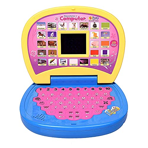 ROUUEN Educational Computer ABC and 123 Learning Kids Laptop with LED Display and Music (Yellow Color)