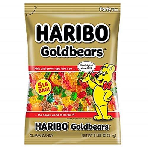 Haribo Gummi Candy, Goldbears Gummi Candy, 5 Pound Bag, Set of 2
