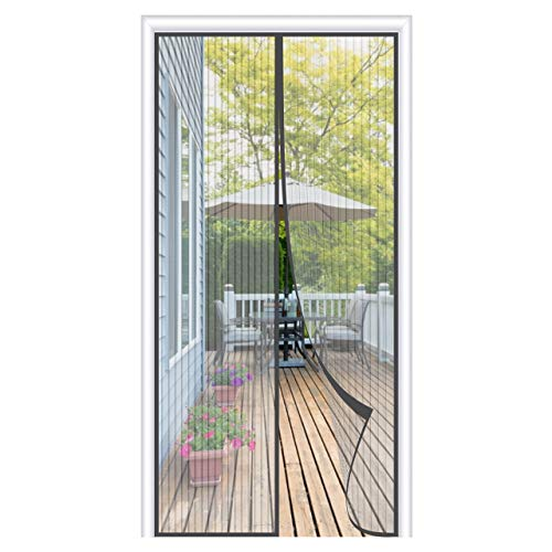 OOWOLF Magnet Fliegengitter Balkontür 100 × 210cm, Magnet Fliegengitter Tür Insektenschutz ohne Bohren, 34 Stück Magnete Automatisch schließen, für Balkontür, Terrassentür, Wohnzimmer, Grau