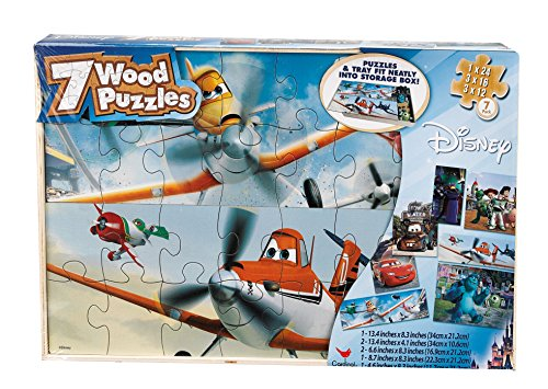 Planes 7 Wood Jigsaw Puzzles in Storage Box (styles may vary) by Cardinal Industries