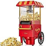 Qcen palomitero, 1200w vintage máquina de palomitas con gran capacidad, aire caliente sin grasa aceitalibre de bpa, rojo