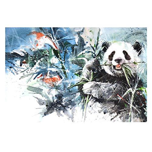 HYCy Kunsthandwerk DIY 5D Diamant Malerei Kits für Erwachsene Kinder Vollbohrer Runde Edelstein Perlen Kunstmalerei für Zuhause Wanddekoration (30x40cm) Essen Bambus Panda