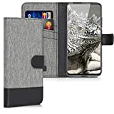 kwmobile Wallet Case Compatible with Xiaomi Mi 9T (Pro) / Redmi K20 (Pro) - Fabric Faux Leather Cover with Card Slots, Stand - Grey/Black