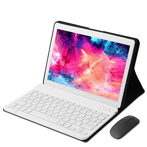 KISEDAR Tablet PC de 10 Pulgadas Android 9.0 4GB RAM / 64GB / 8000AH / Tarjeta SIM Dual/GPS/WiFi/Teclado Bluetooth/Mouse/Cubierta para Tablet PC, etc.-Blanco
