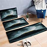 3 Piece Non Slip Flannel Door Mat Big Full Moon Over a Fantasy Castle on Hill Clouds Rocks Valley View Indoor Carpet for Bath Kitchen(W15.7xL23.6 by W19.6xL31.5 by W19.6xL59)