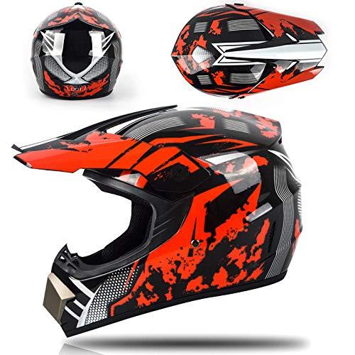 Motor off-road helm kinderen en adolescenten elektrische helm skelter volledige helm helm-Rode zandstorm Lichte, comfortabele en veilige helm_L