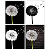 Rustic Dandelion Flowers Poster Prints, Set of 4 (8x10) Unframed Photos, Wall Art Decor Gifts Under 20 for Home, Office, Kitchen, Salon, Studio, Bathroom, College Student, Teens, Teacher, Florals Fan