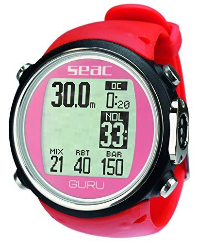 Seac Tauchcomputer Guru für Luft und Nitrox - Uhrenformat, rot