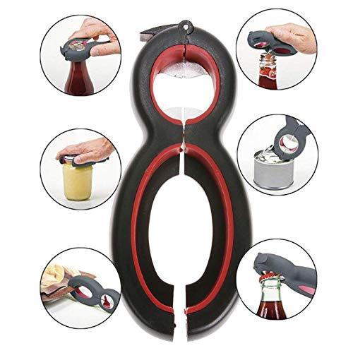 TKFY 6 in 1 Flasche Dosenöffner Multifunktionsküche Glas Bier Openers Deckel Remover Flaschenöffner für senioren schwachen Händen 14,5 × 6,2 × 2,4 cm