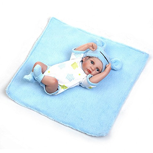 Minidiva Reborn Baby Doll, 100% Alive Handmade Full Soft Silicone 11 / 27cm Realista recién Nacido Doll Girl para niños, Azul-RB086