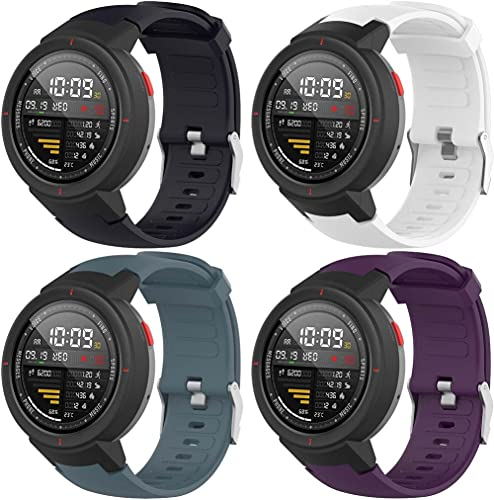 Gransho Correa de Reloj Compatible con Amazfit Verge/Verge Lite, Blando Silicona Narrow Delgada Deporte Reemplazo Pulsera (4-Pack H)