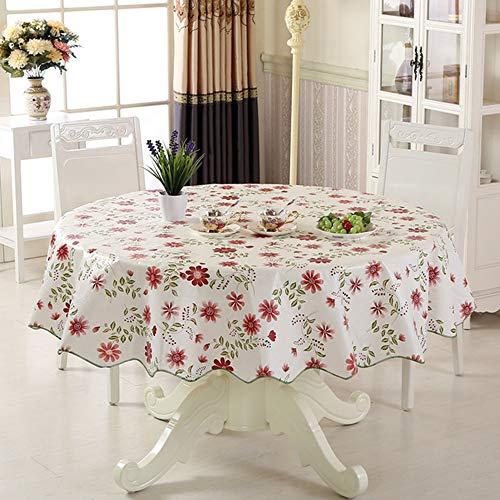 YQHWLKJ Imperméable Nappe Grasse Nappe Ronde Fleur PVC Nappe Maison Cuisine Table À Manger Banquet Partie Nappe