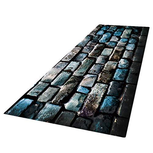 perfk Läufer Teppich Küche Flur Kurzflor Steinoptik Küchenläufer Küchenteppich Teppichläufer für Wohnzimmer Schlafzimmer - 60x180cm