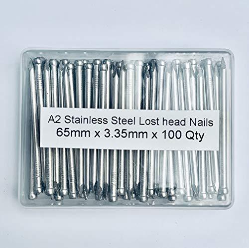 Paquete de 100 clavos de cabeza perdida de acero inoxidable A2 de 3,35 mm de diámetro x 65 mm de longitud, embalados en recipiente de plástico grado 304