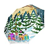 Ahomy Winddichter Reise-Regenschirm, zusammenklappbar, Weihnachtsbäume, Weihnachtsmann, Rentier, Schlitten, Regenschirm, automatisches Öffnen und Schließen, Rutschfester Griff und Schutzhülle