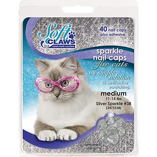 Feline doux Pince à ongles caches, grande, Argent, Sparkle