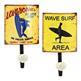CAPRILO Set de 2 Perchas Decorativas con Pomo de Metal Retro Surf. Percheros. Muebles Auxiliares. Regalos. 21 x 12 x 8 cm.