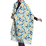 Bufanda de invierno de tela sin costuras con diseño de peces de mar, para mujer, vestido de noche, dama de honor, boda, boda, largo, grande, grueso, reversible