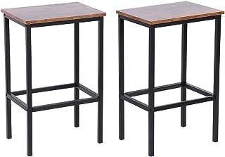 Taburete de bar para cocina, silla, estructura de madera y hierro, juego de taburete de bar industrial retro de 2 piezas, taburete alto para cocina, 30x40x63,5 cm, estructura resistente, alta capacida
