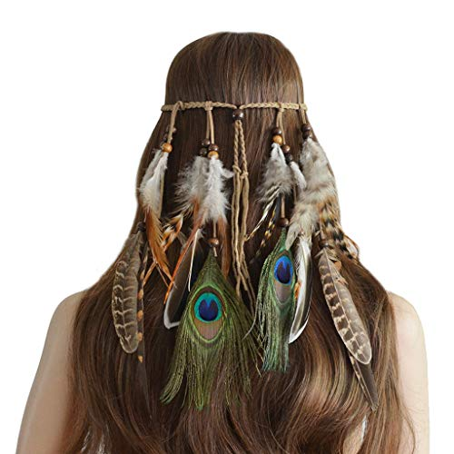 Womens Head Chain, Women Ornaments Bohemian Peacock Feather Hair Hoop Hair Band, Jewelry & Watches for Christmas
