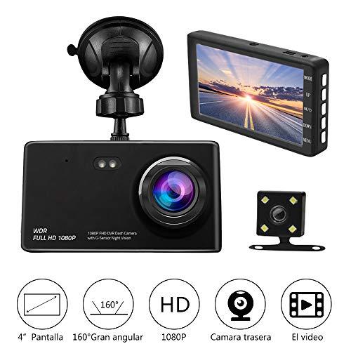 Camara de Auto Dual Dashcam,Camara para Coche Full HD 1080P G-Sensor Vision Nocturna con Monitoreo de de…