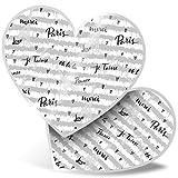 Impresionante 2 pegatinas de corazón de 15 cm BW – Bonita Torre Eiffel de París divertido calcomanías para portátiles, tabletas, equipaje, libros de chatarra, frigorífico, regalo genial #39538