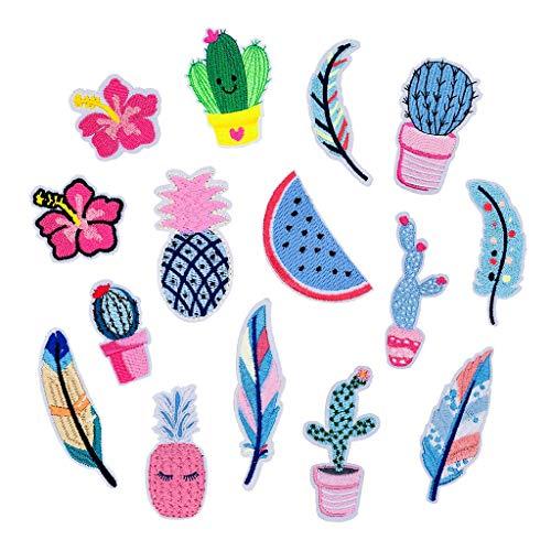 Feelairy 15Pcs Bügelflicken Kinder Mädchen, Flicken Patches zum Aufbügeln in Ananas Federn Muster Blumen Bügelbilder Aufbügler Vintage Aufnäher Applikation für DIY T-Shirt Jeans Kleidung Taschen