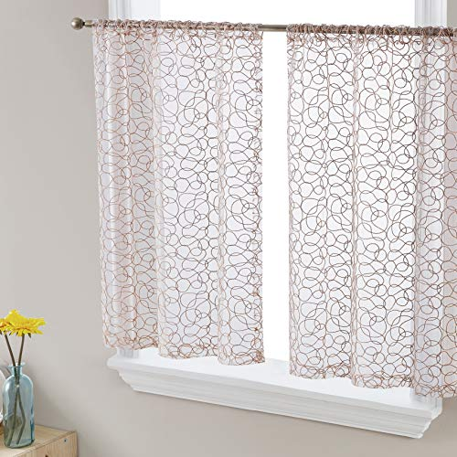 HLC.ME Audrey Embroidered Sheer Voile Window Curtain Short Rod Pocket Tiers for Kitchen, Bedroom, Small Windows and Bathroom (30 x 45 inch Long, Taupe)
