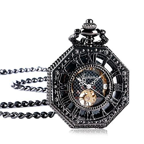 WWXL Reloj de Bolsillo para Hombre, Reloj de Bolsillo Colgante mecánico con Caja de Cristal con patrón Negro Romano, Regalos para Hombre, Relojes de Bolsillo para Hombre