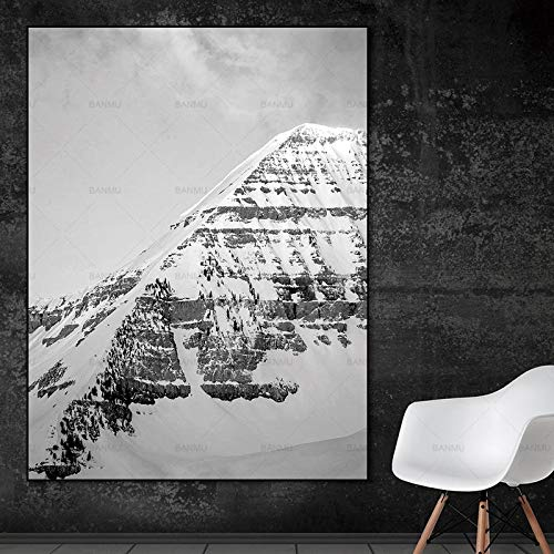 N / A Wall painting home decoration landscape canvas painting mural poster printing snow mountain scenery living room family frameless canvas decorative painting A114 60x80cm