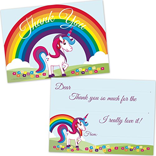Rainbow Unicorn Kids Birthday Fill in Thank You Cards (20 Count with Envelopes)