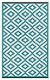 Green Decore Nirvana - Alfombra de plástico Reversible para Exteriores, Color Azul y Blanco