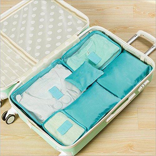 Amaoma Reisetasche 6 Sätze von wasserdichten Kleidung Unterwäsche Finishing Tasche Reisebeutel Lagerung sechs Sets (Blau)