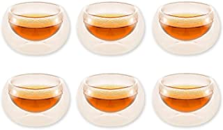 Ace Select 1.7 oz/ 50ml Double Wall Insolate Glass Coffee Tea Mugs, Clear Glass Cup Set of 6 for Sampling Tea Flavours, Ristretto and Single Expresso