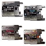 4 Reinigungspatronen SET für Brother LC-1220, LC-1240, LC-1280 Black, Cyan, Yellow, Magenta passend zu Brother DCP-J525W DCP-J725DW DCP-J925DW MFC-J430W MFC-J625DW MFC-J825DW MFC-835DW MFC-J5910DW MFC-J6510DW MFC-J6710DW MFC-J6910DW