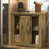 SHA CERLIN Farmhouse Accent Wood Storage Cabinet with Sliding Barn Door for Living Room, Rustic BuffetCabinet withAdjustable Shelves,32 InchCoffee Cart, Oak