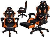 MALATEC Gaming Stuhl Bürostuhl Schreibtischstuhl mit Fußstützen Kissen Ergonomisch Schwarz-blau/rot/orange 8978, Farbe:Schwarz-Orange