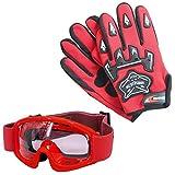 Leopard Kinder Motocross Rot Handschuhe (M - 6cm) und Zorax Brille Cross Motorrad Quad Off-Road für Youth