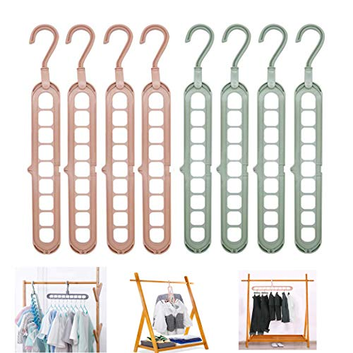 Linseray Magic Clothes Hangers 8 Pack Wardrobe Hangers Multi Functional Closet Hangers Rotate Anti-Skid Folding Hanger for Dormitory Bedroom Bathroom