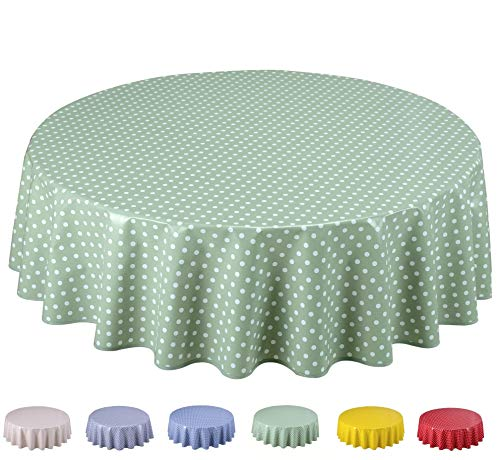 Home Direct Tovaglia in Tela Cerata plastificata Rotonda 140cm Pois Piccolo Verde Salvia