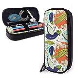 Estuches de lápices con cremallera, multiusos, suministros de oficina escolar, verduras, alimentos veganos, frutas y flores (12)