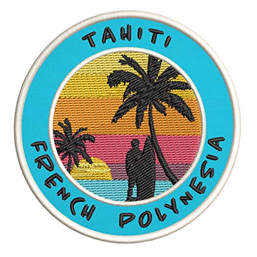 Tahiti, French Polynesia Surfing Spot Embroidered Premium Patch DIY Iron-on or Sew-on Decorative Badge Emblem Vacation Souvenir Travel Gear Clothes Appliques