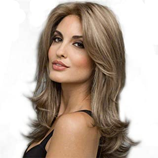 Big Wave Brown Ombre Blond Glueless Hand Tied Big Lace Part Heat Resistant Hair Daily Synthetic Lace Front Wigs Fluffy Air...