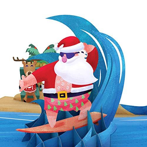 Lovepop Warm Wishes Surfing Santa Pop Up Card - 3D Card, Christmas Pop Up Card, Santa Pop Up Card, 3D Christmas Card, Merry Christmas Card, Holiday Pop Up Card